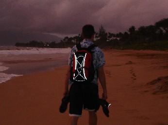 J on the beach at dusk